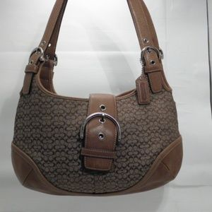 Coach Tan Khaki Signature Hobo Shoulder Handbag